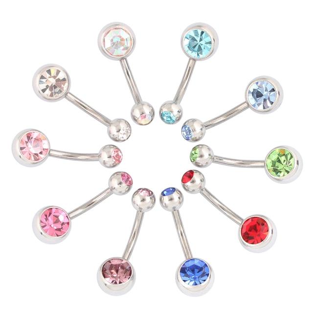 Medische Staal (100 Stuks/partij) buik Navel Button Rings Body Piercing Sieraden Groothandel 14G Chirurgisch Staal Met Dubbel Kristal
