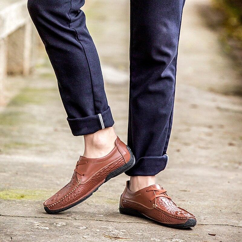 19 mocassins de marque Crocodile en cuir véritable hommes chaussures décontractées de haute qualité hommes chaussures à la main appartements britanniques chaussures de conduite