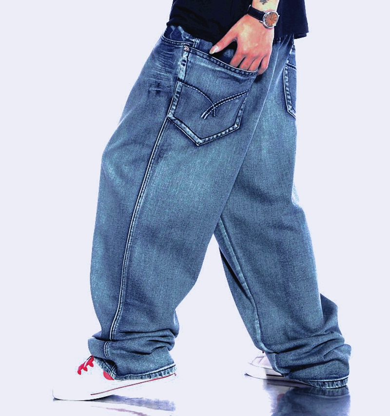 Men Retro Baggy Jeans Vintage Washed Denim Pants plus size 42 44 46 Male Hiphop Skateboarder Jeans Jeans high street fashion denim