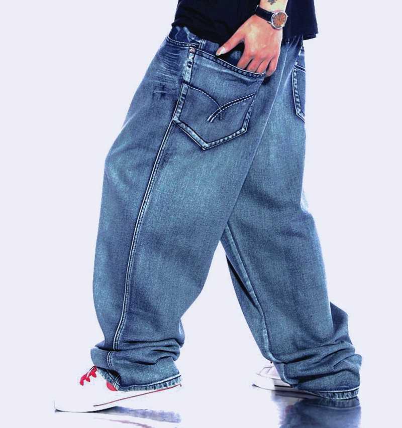 b2d7e0234ab Men Retro Baggy Jeans Vintage Washed Denim Pants plus size 42 44 46 Male  Hiphop Skateboarder