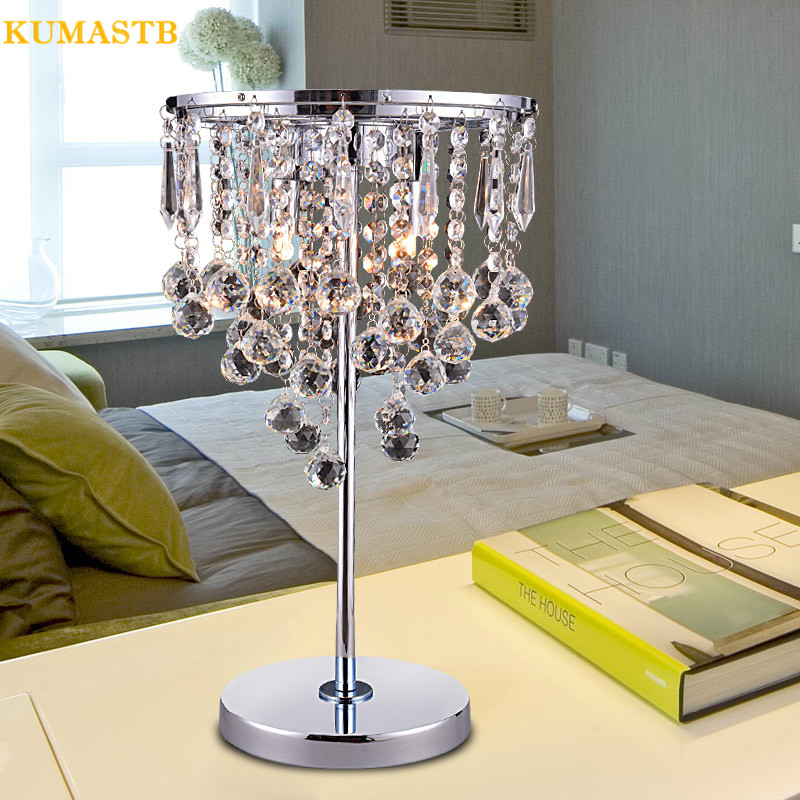 Fumat Table Lamps Modern Bedroom Bedside Lamp Luxury Crystal Abajur Luminaria With Fabric Lampshade Coral K9 Crystal Table Lamp Led Table Lamps