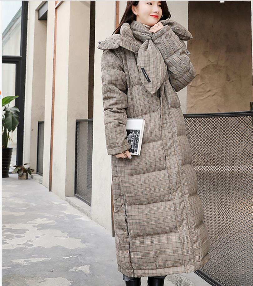 Plaid Taille Rembourré As 2018 Parkas Long La Plus Vestes 2xl Manteaux Coton D'hiver Épais Photo Manteau Et Femmes 6xXqBA