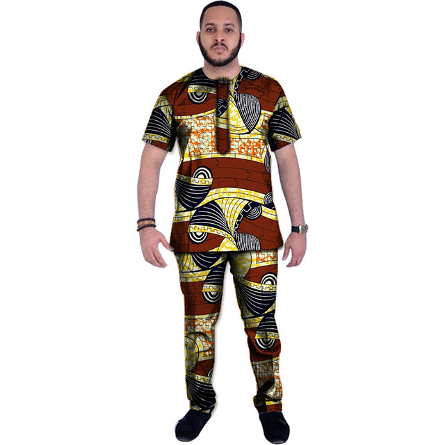 Dashiki vestiti degli uomini di tops + pants set della stampa della cera camicie  e pantaloni 17b764113d4