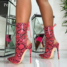 Serpentine Women Ankle Boots 2019 Autumn Lace-Up Pointed Toe Stilettos Shoes Fashion Sexy Chelsea for