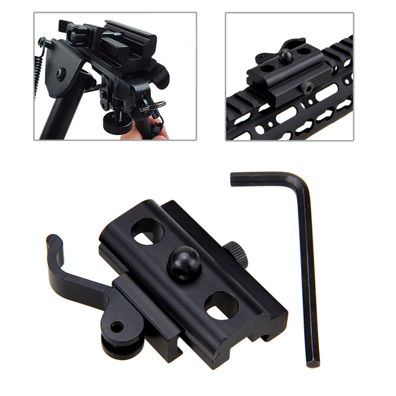 20mm Hunting QD Harris Style Bipod Sling Swivel Adapter Mount Weaver Picatinny Rail Mount For RAS, RIS Rails Rifle Gun Black
