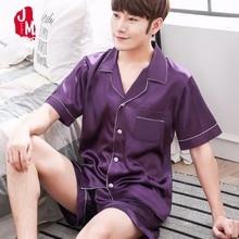 20018 Silk Men Pajama Solid Male Sleepwear Casual Satin Pyjamas Short Mens Pajamas Smooth Sleepwears Summer XXL
