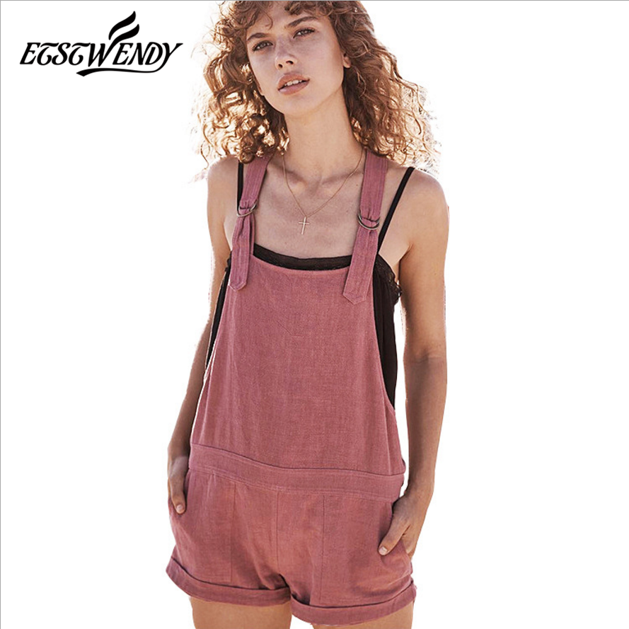Summer 2018 Korean Women Jumpsuits Casual Vintage Sleeveless Backless Jumpsuit Loose Pockets Overalls Summer Sexy Playsuit Women