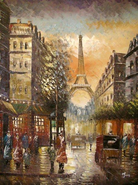 "Hand painting ""Paris in Colour"" Large Fine Art oil on"