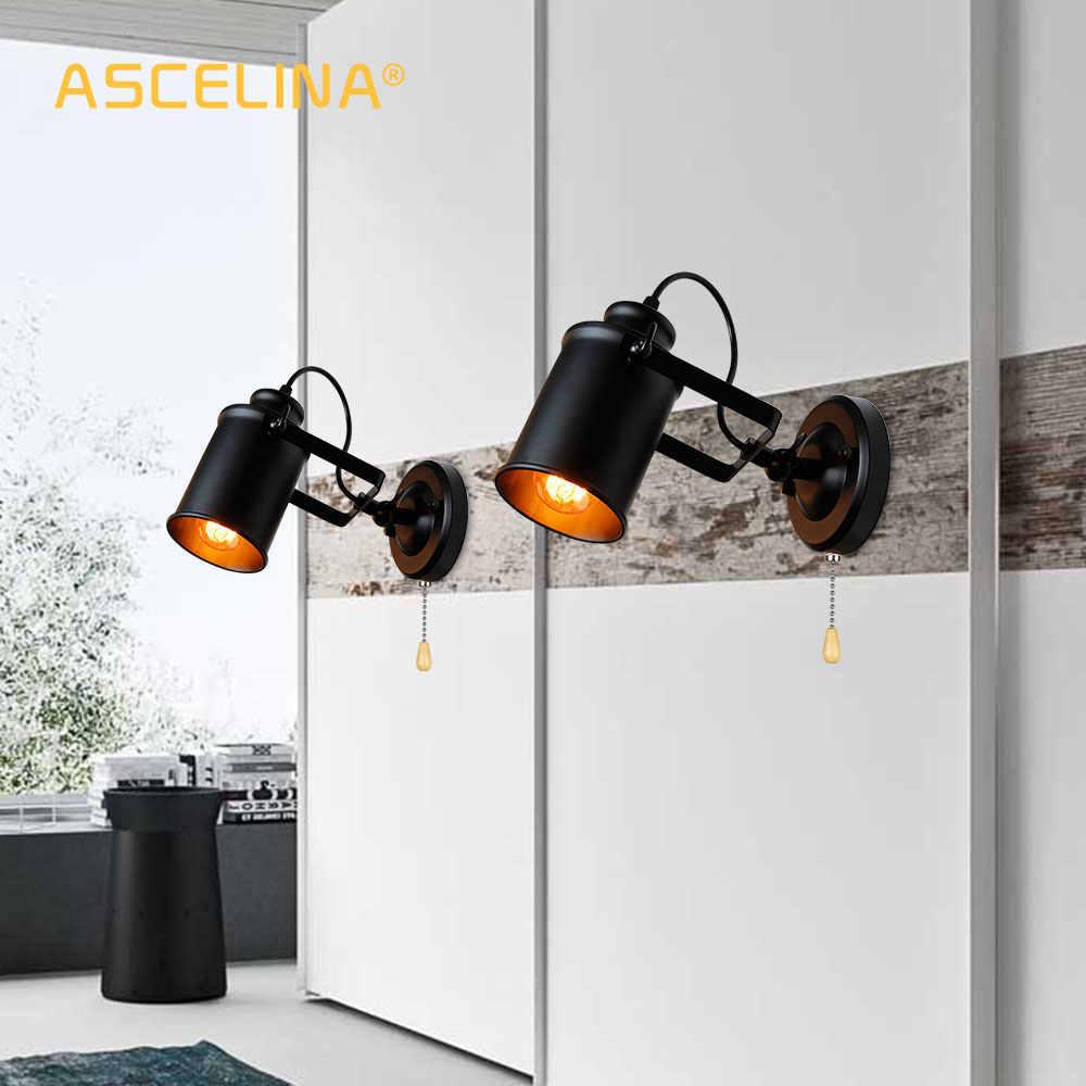 Промышленный настенный светильник винтажный настенный светильник с Тяговый цепной переключатель удобный ретро бра Лофт Американская страна светодиодный настенный светильник
