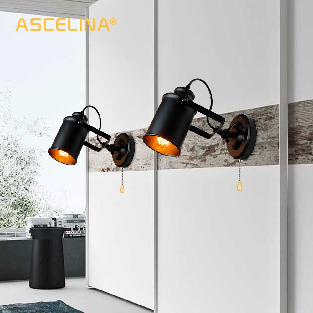 Image 2 - Industrial Wall Lamp Vintage wall lights with Pull chain switch handy Retro sconce Loft American country led wall light fixture-in LED Indoor Wall Lamps from Lights & Lighting