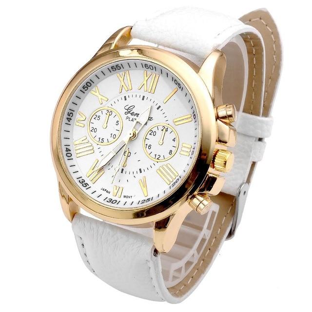 280b328ec4a 2019 Nova Moda Genebra Mulheres Relógios Algarismos Romanos relógio de  Quartzo de Couro Do Falso das