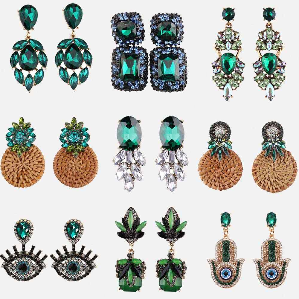 Dvacaman Indian Bridal Statement Earrings Women Wedding Crystal Dangle Drop Earrings Girls Party Hanging Earrings Green Summer