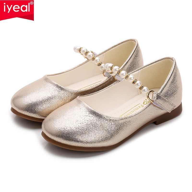 4d89b8995 IYEAL de moda gran perla niña de las flores zapatos de cuero de la PU para