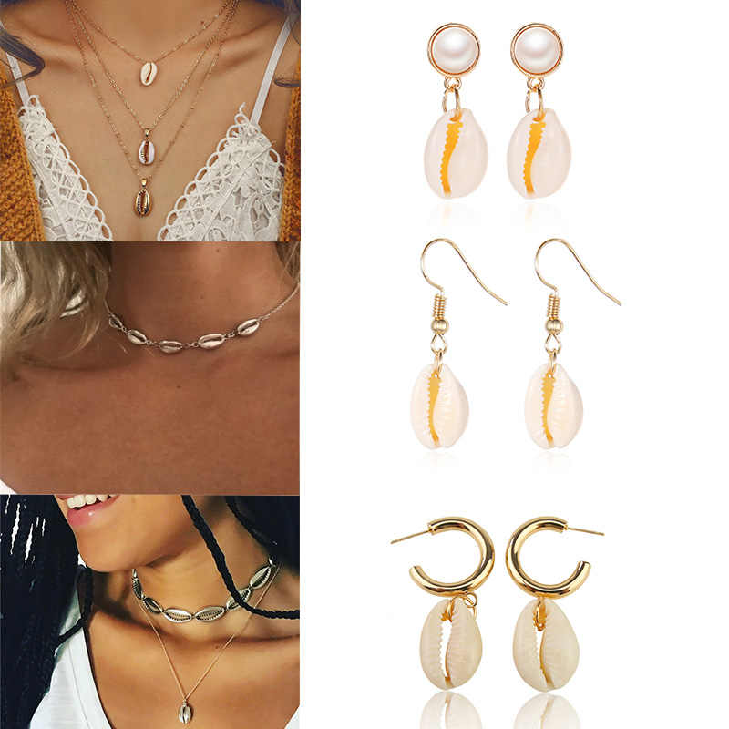 Bohemia Shell Jewelry Set For Women Golden Natural Seashell 2PC Necklace Earrings Sets Summer Beach Accessories Boho Jewelry