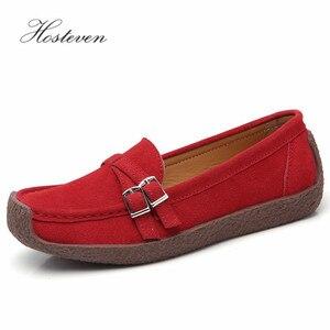 Image 3 - Zapatos de mujer Hosteven mocasines planos mocasines Oxfords barco Casual cuero genuino mujer cuero negro zapatos