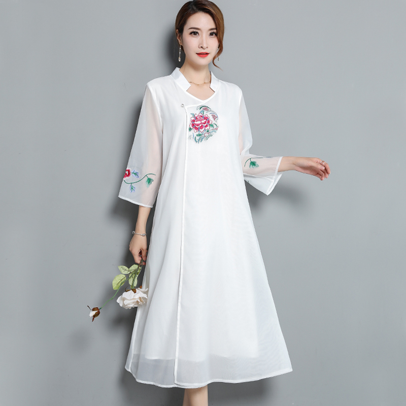 Plus size chiffon dress women vintage midi dresses summer Chinese retro embroidey floral female large whiter party robe clothes
