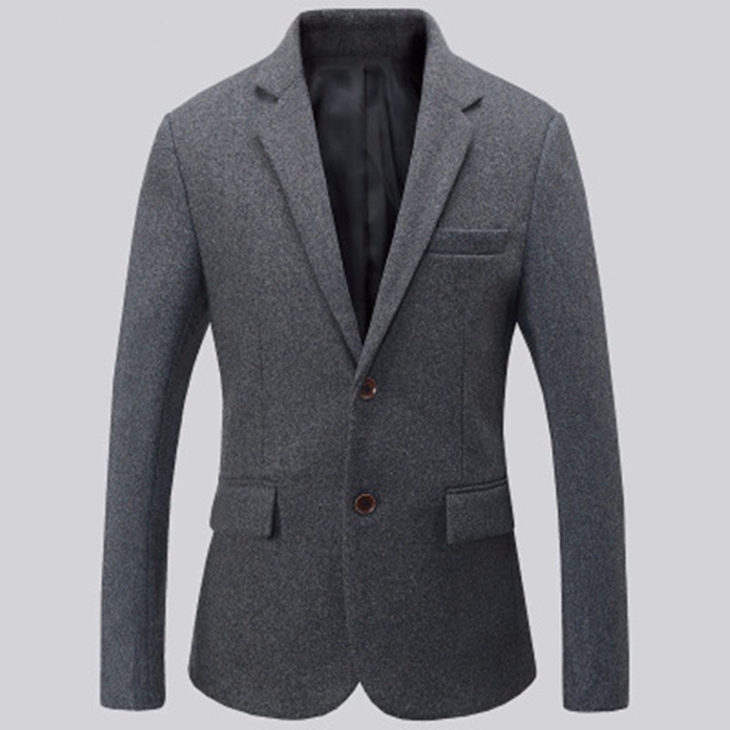 8.1Black and grey men suits jacket wool blended formal business suits jacket two button keep warm groom dress jacket