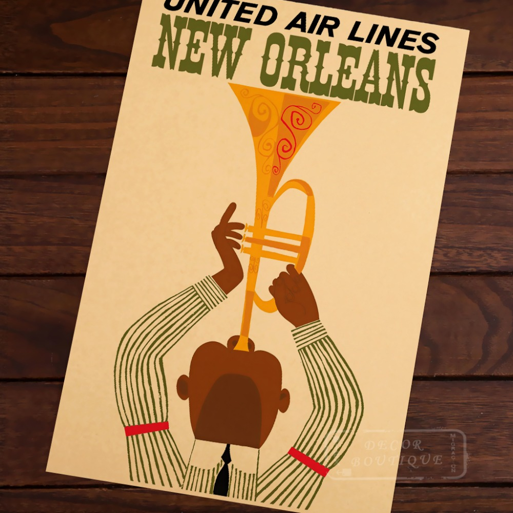 Blew the horn of New Orleans United Airlines Canvas Painting Retro ...