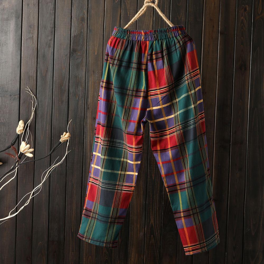 2019 High Waist Women Pants Plus Size Loose Plaid Printed Casual Cotton Linen Pockets Ankle-Length Wide Leg Pants Pantalon Femme