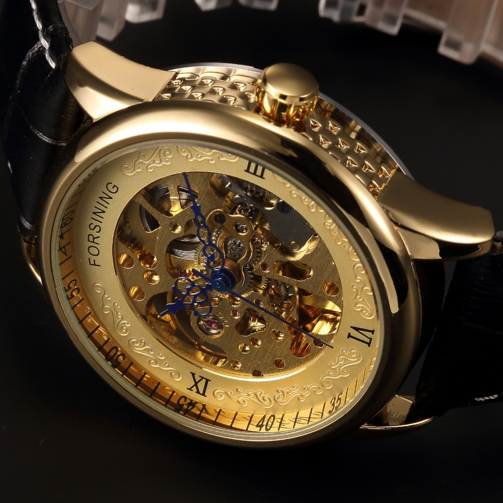 engraving forsining brand watches leather luxury hollow design products logo black gold mechanical men case skeleton