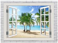 Custom photo wallpaper 3d murals wallpaper for walls 3 d Outside the window beach scenery wallpaper bedroom wall decoration 3d stereoscopic photo wallpaper window landscape wallpaper for walls outside scenery brick wallpaper 3d living room wall mural