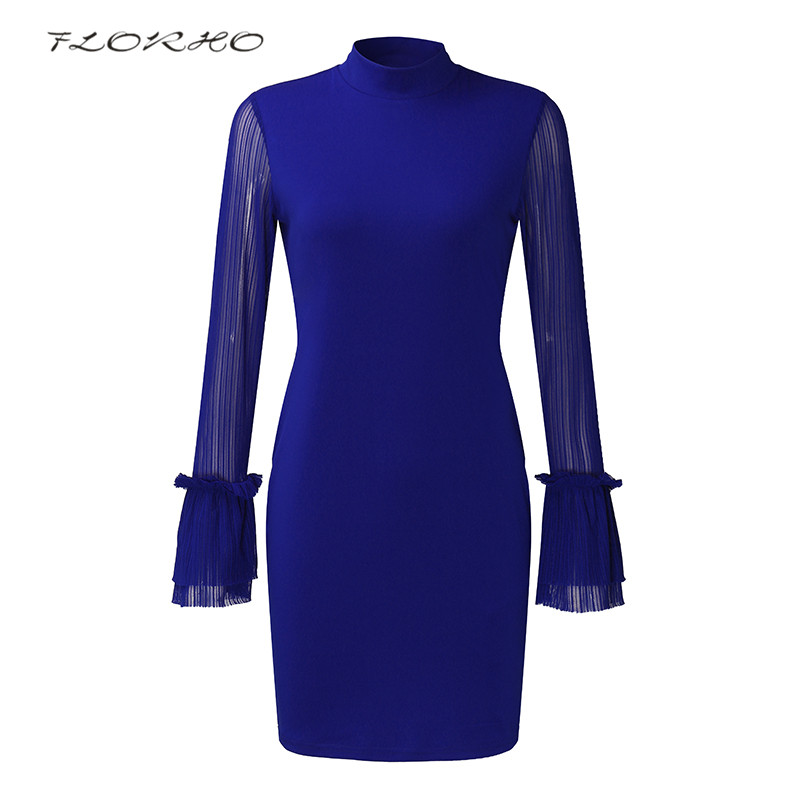 Elegant Office Ladies Dress Women Mini Dresses Sheer Flare Sleeve Formal Dress Slim Fit Bodycon Party Club Vestidos S-5XL Femme