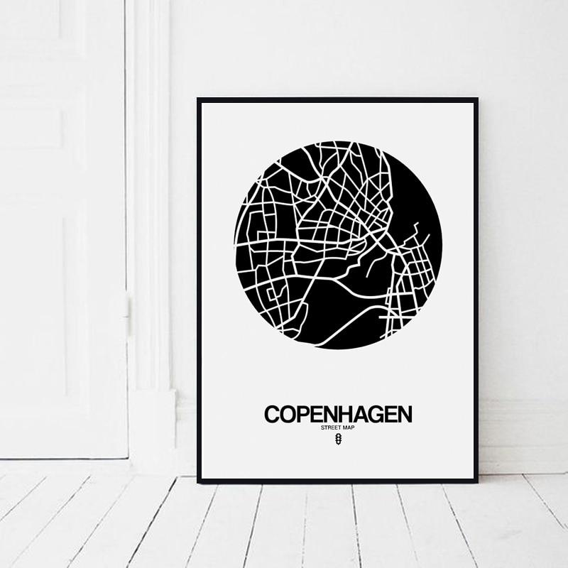 Moderne Linie Zeichnung Weltkarte Dekorative Malerei Schwarz Weiß ...