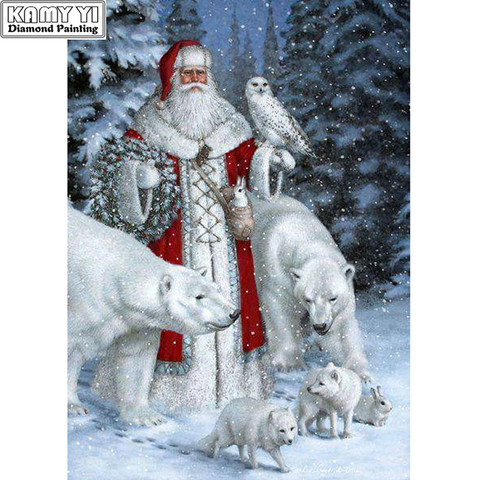 100% Full 5D Diy Daimond Painting Cross-stitch Christmas 3D Diamond Painting Old Man And Wolves Rhinestones Paintings Embroidery Pakistan