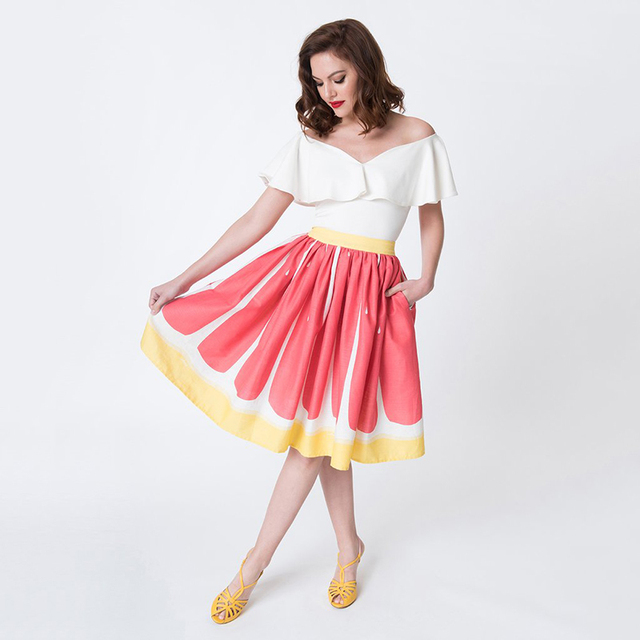 6524a0856ca74 US $11.99 35% OFF|Pleated Watermelon Skirts Womens High Waist Christmas  Skirt Harajuku Sweat Short Midi Skirts Evening Cocktail Party Petty  Skirt-in ...