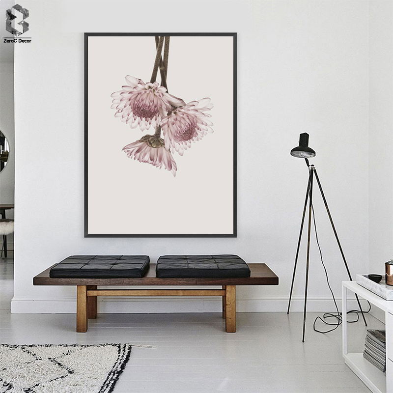 Classic Pink Chrysanthemum Flower Canvas Painting Wall Art Posters and Prints Texture Picture for Living Room Decoration