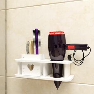 Image 4 - Półka ścienna w uchwyt łazienkowy do suszarki do włosów półka toaletowa bezpłatny stojak do kąpieli Estante Prateleira De Parede akcesoria łazienkowe
