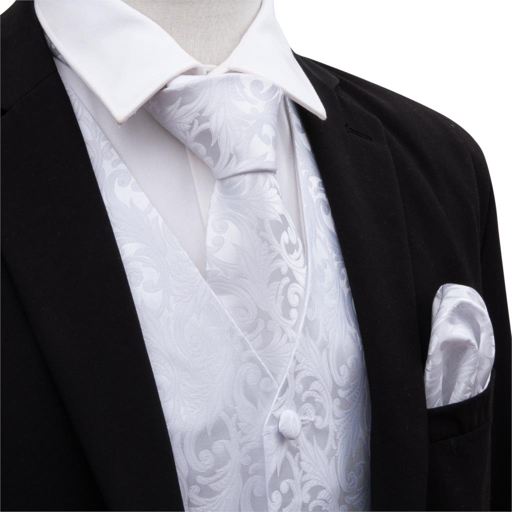 Men Solid White Suit Vest Silk Waistcoat Formal Paisley Ties Cufflinks Pocket Square Set For Tuxedo Male Gift Barry.Wang MJ-2002