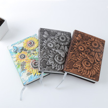 Mini Vintage 3D Print Embossed Notebook Sunflower Travel Diary Magazine Leather Gift Bible Book Manual Free Shipping