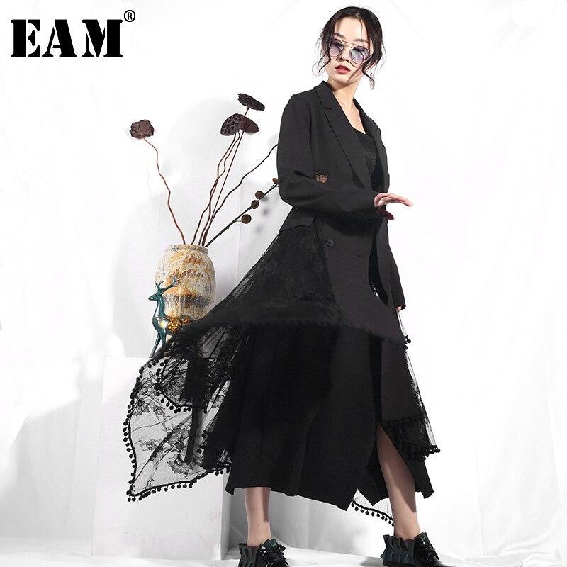 [EAM] 2019 New Autumn Lapel Long Sleeve Black Irregular Hem Lace Split Joint Loose Windbreaker Women   Trench   Fashion Tide JO569