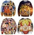 Envío gratis! cuello redondo de dibujos animados hombre / mujeres Dragon ball Z comic goku Saiyan impresión 3d sudadera suéteres ocasionales más tamaño