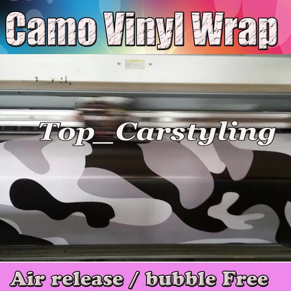 Grand BLANC NOIR Camouflage Vinyle Pour La Voiture wrap film Camo Autocollant De Voiture Moto Toit miroir Enveloppe Bulle Livraison 1.52x30 m/roll