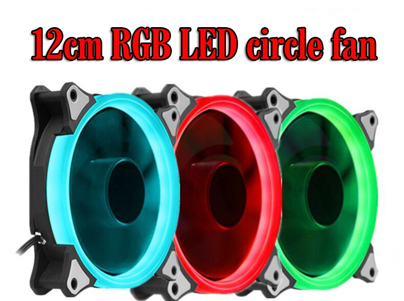 RGB Case Cooling Fan 120mm 12cm With RGB LED Ring For Computer Water Cooler Color Radiator Fan computer cooler radiator with heatsink heatpipe cooling fan for hd6970 hd6950 grahics card vga cooler