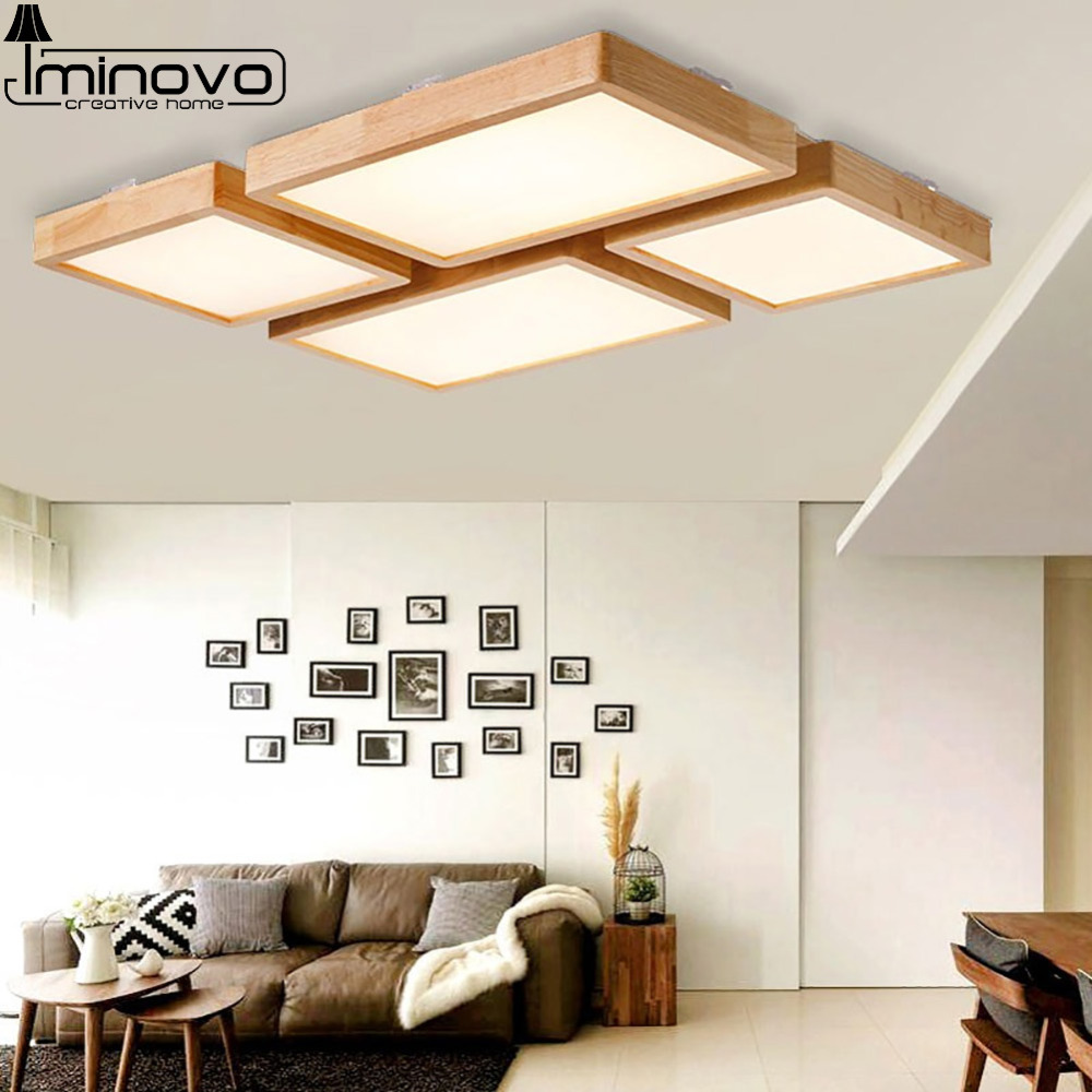 Modern LED Ceiling Light Lamp Panel Living Room Wooden Square Hall ...
