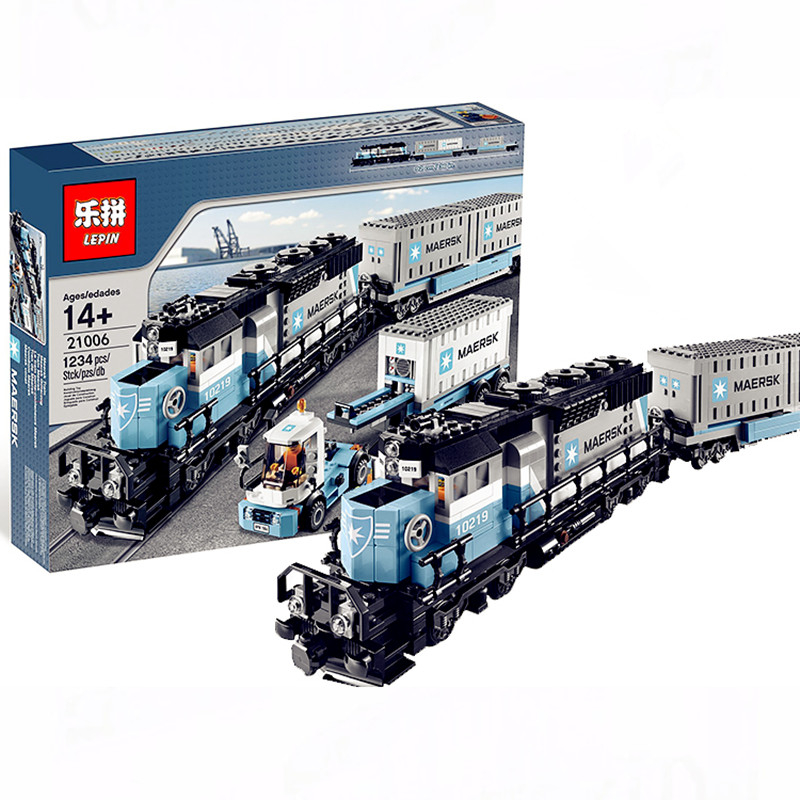 Lepin 21006 1234Pcs Genuine Technic Ultimate Series The Maersk Train Set Building Blocks Bricks Educational Children Toys 10219 lepin 22002 1518pcs the maersk cargo container ship set educational building blocks bricks model toys compatible legoed 10241