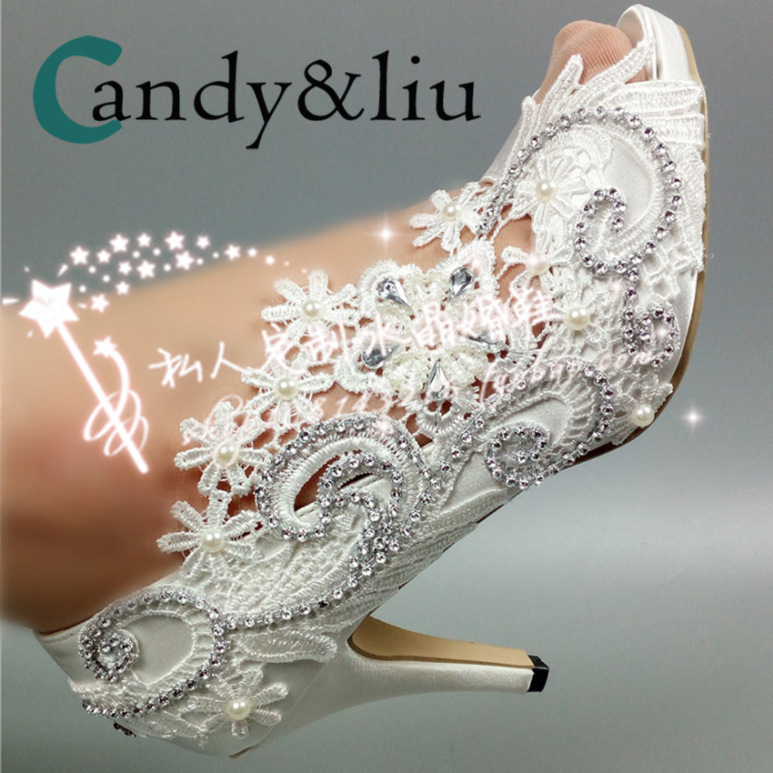 White Lace Flower Wedding Shoes Silver Cyrstal Beaded Peep Toe Slip-on Spike Heel Women Pumps For Party Banquet Bridesmaid