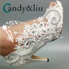 White Lace Flower Wedding Shoes Silver Cyrstal Beaded Peep Toe Slip-on Spike