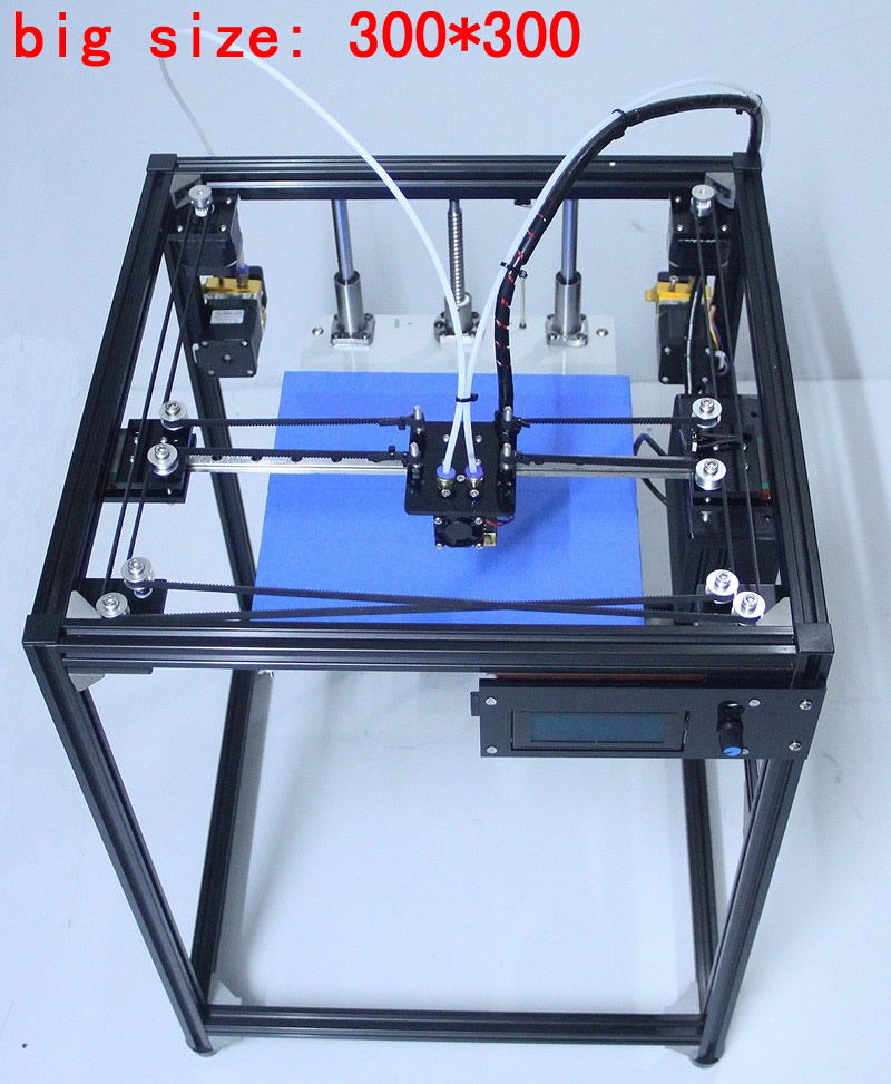 ifancybox 3 XXL dual 2017 big size DIY corexy 3d printer Kit linear guide aluminum Frame dual color extruder 3d printer flsun 3d printer big pulley kossel 3d printer with one roll filament sd card fast shipping