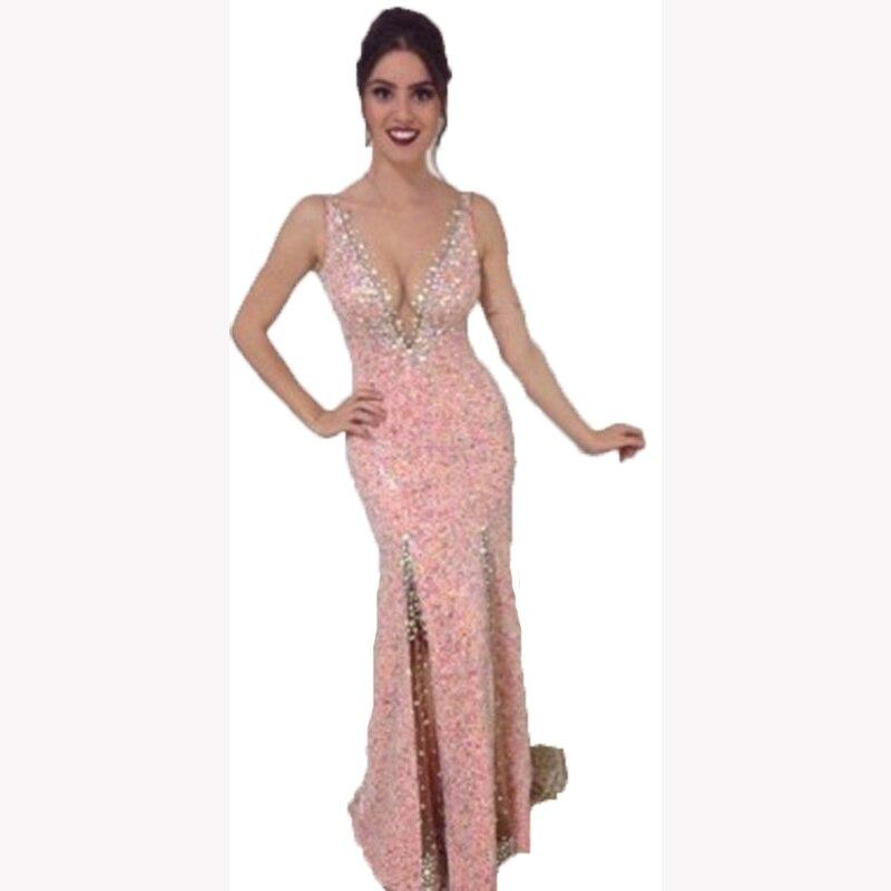 2017 Frente de Split Side Vestido de La Sirena de Baile Glitter ...