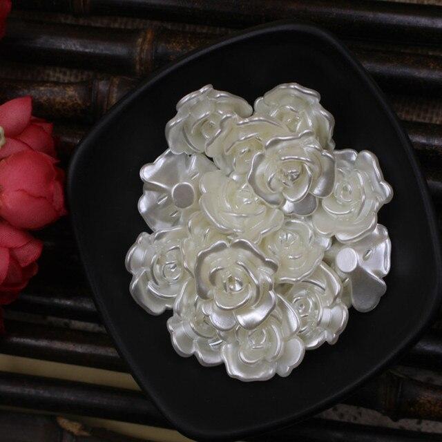 25 шт/лот 23 мм белые имитация жемчужные бусины в форме цветка