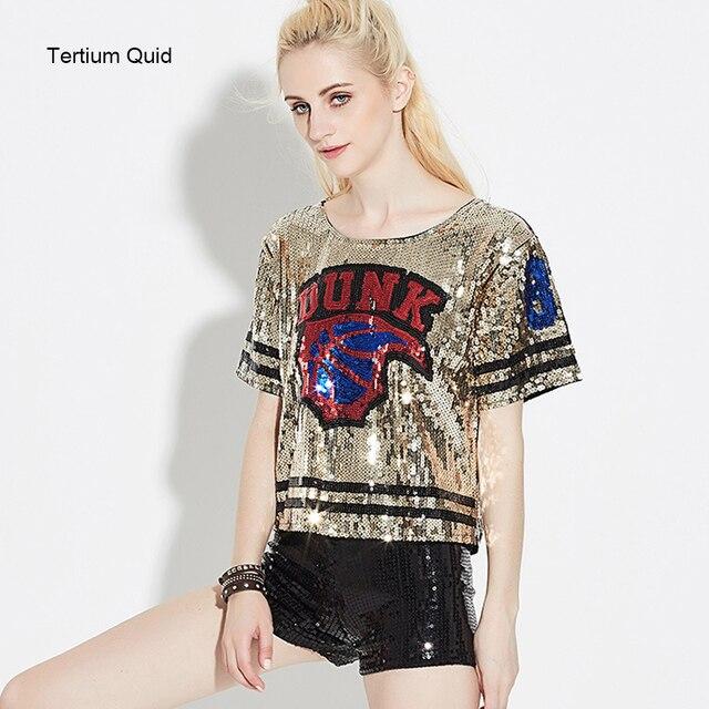 Women's Burning Fire Ball Hip Hop Glitter T-shirt