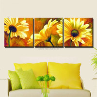 hand painted oil painting yellow flower canvas picture 3 pieces realistic sun flowers wall pictures for living room decoration