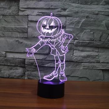 Halloween Pompoen Mensen Kleurrijke 3d Light Luminaria Led Powerbank Led Nachtlampje Mooie cartoon kinderspeelgoed