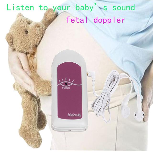 Freeshipping Fetal Doppler BabySound Un 2 MHz sin Pantalla LCD Lovely Pink 2 pilas de tamaño AAA