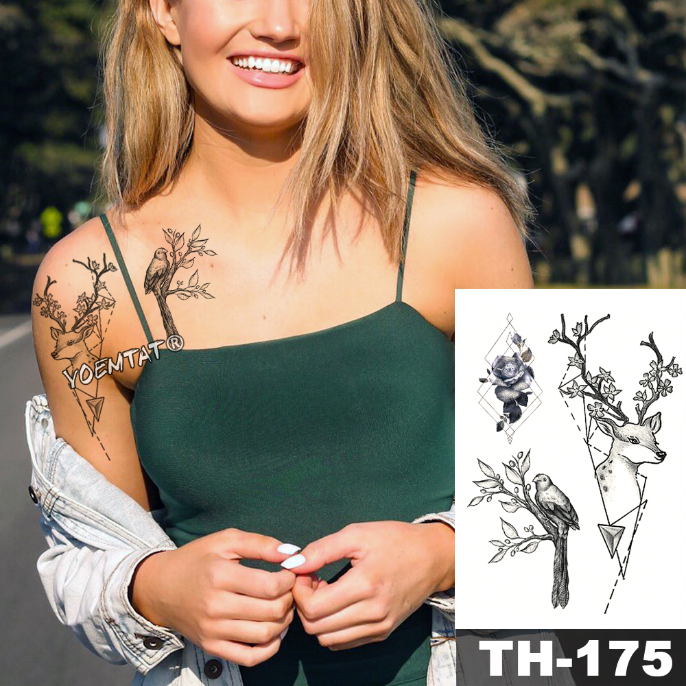Waterproof Temporary Tattoo Sticker Sketch line peony pattern tatto Water Transfer Rose body art fake arm tatoo For Women 5