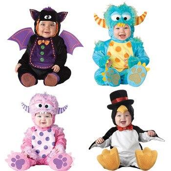 Костюм для костюмированной вечеринки; комбинезон с пингвинами и монстрами для мальчиков и девочек на Рождество и Хэллоуин; комплект одежды